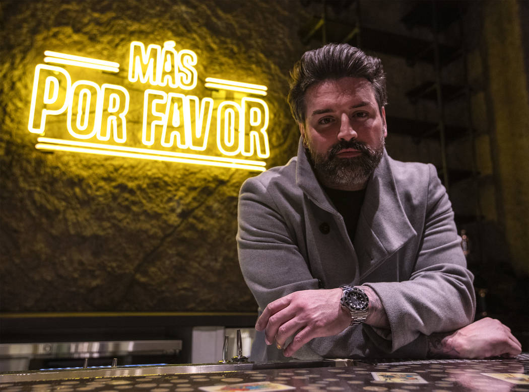 Ryan Labbe, owner of the new Mexican restaurant Más Por Favor Taqueria y Tequila, poses for a ...
