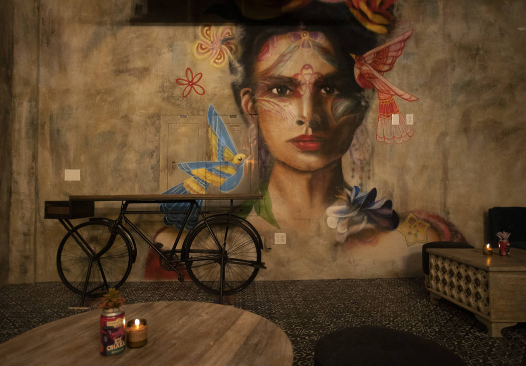 Artist Mallory Dawn painted this mural, which is seen in the speakeasy bar at Más Por Favor Ta ...