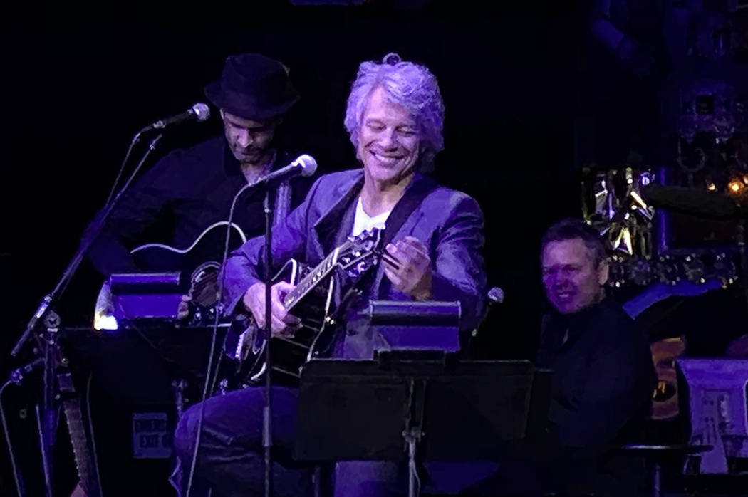 """Jon Bon Jovi performs an acoustic set at the """"Absinthe"""" Spiegeltent at Caesars Palace on Friday ..."""