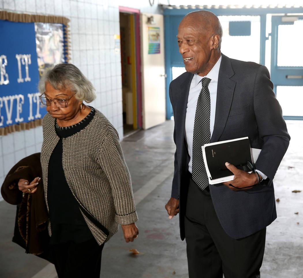 Robert Green and his wife Lettie of Las Vegas at Matt Kelly Elementary School in Las Vegas Frid ...