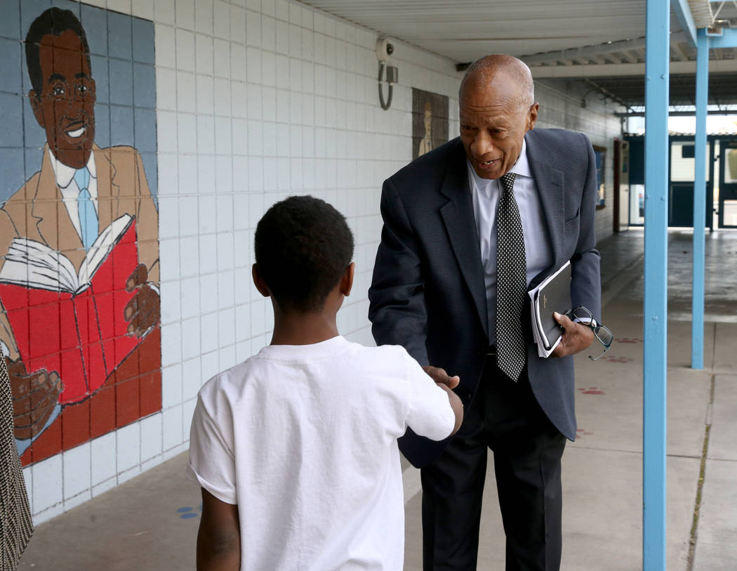Robert Green, 86, a Las Vegas resident and close confidante of Martin Luther King Jr., greets a ...