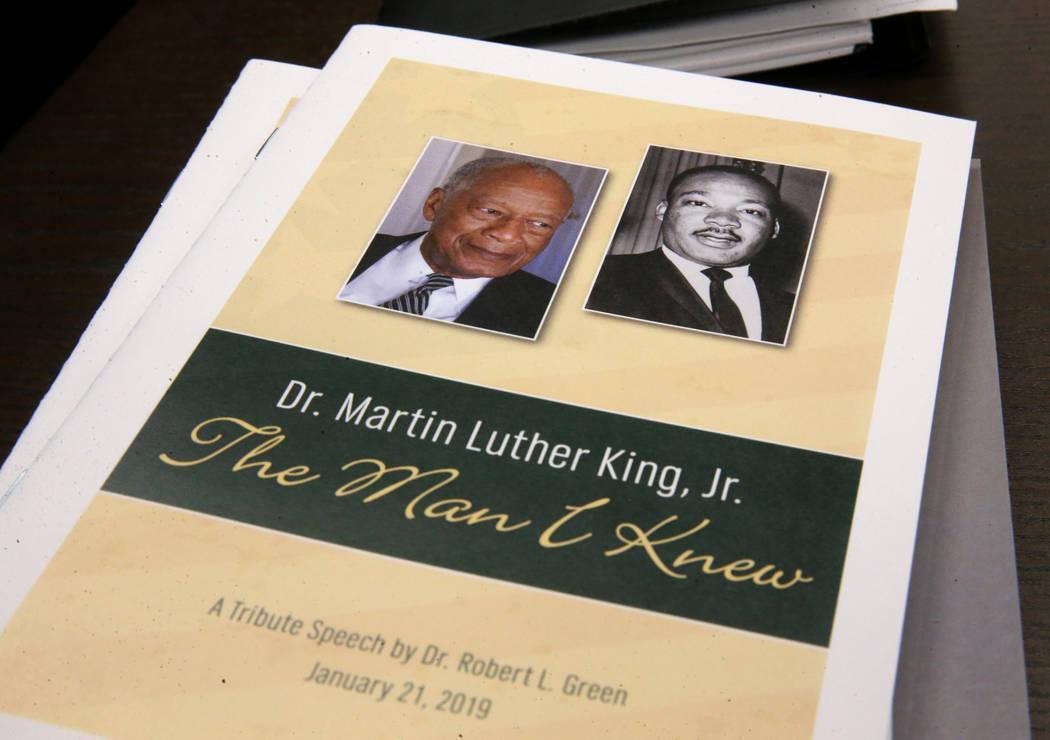 Robert Green, 86, a Las Vegas resident and close confidante of Martin Luther King Jr., shows a ...