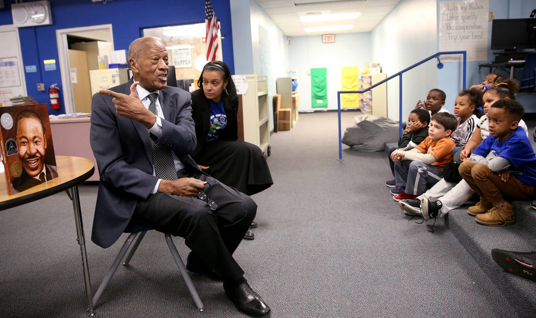 Robert Green, 86, a Las Vegas resident and close confidante of Martin Luther King Jr., talks to ...