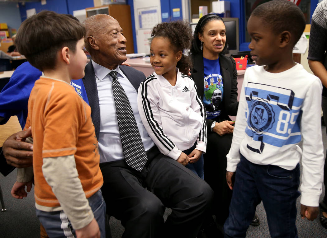 Robert Green, 86, a Las Vegas resident and close confidante of Martin Luther King Jr., greets f ...