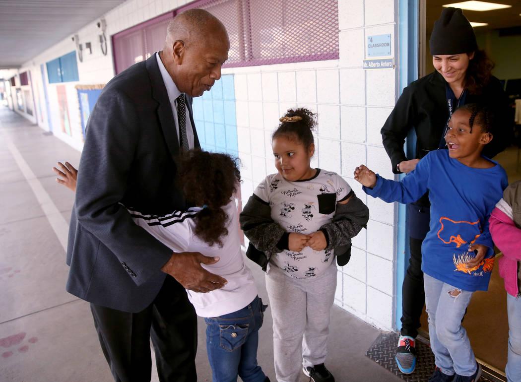 Robert Green, 86, a Las Vegas resident and close confidante of Martin Luther King Jr., greets E ...