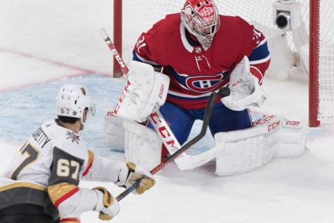 Vegas Golden Knights' Max Pacioretty (67) shoots against Montreal Canadiens goaltender Carey Pr ...