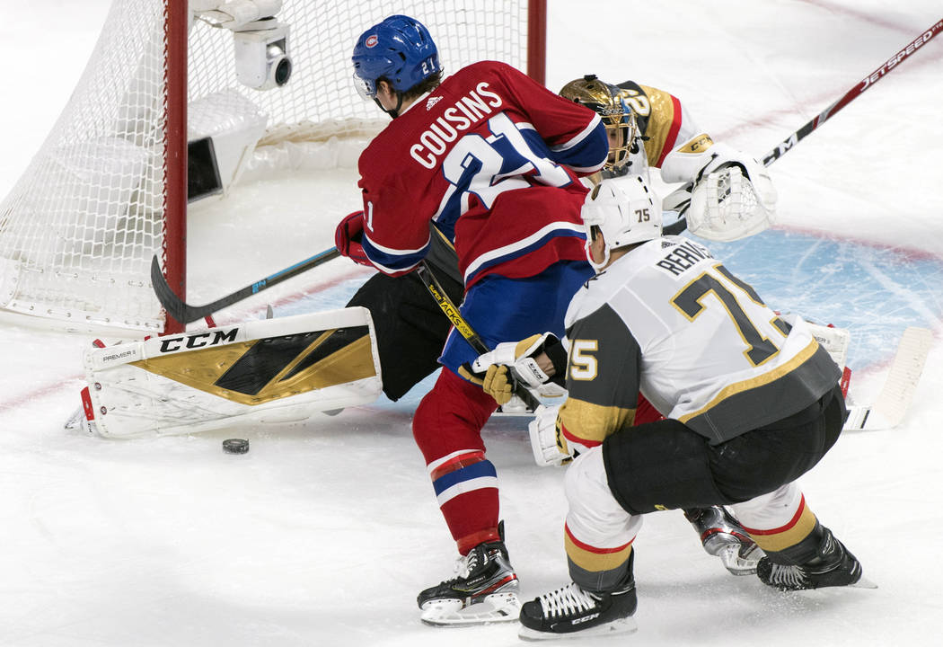 Montreal Canadiens' Nick Cousins (21) scores against Vegas Golden Knights goaltender Marc-Andre ...