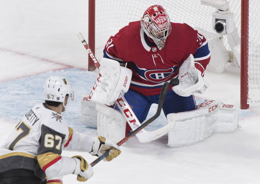 Vegas Golden Knights' Max Pacioretty (67) shoots against Montreal Canadiens goaltender Carey Pr ...