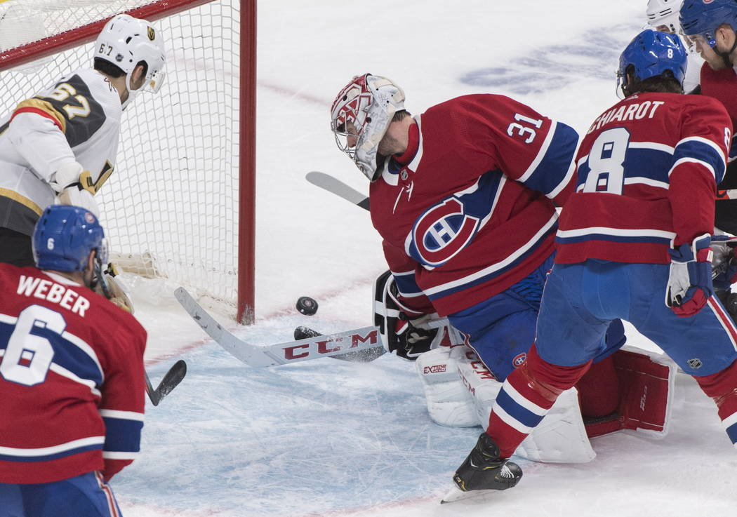 Montreal Canadiens goaltender Carey Price is scored against by Vegas Golden Knights' Paul Stast ...