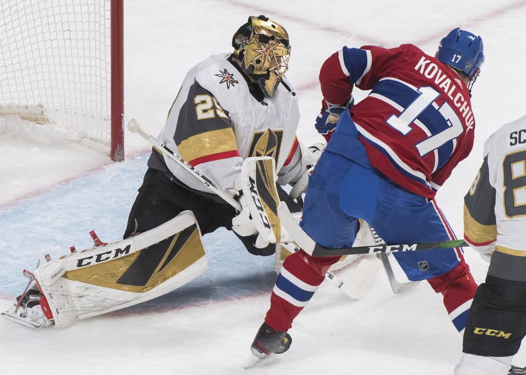 Montreal Canadiens' Ilya Kovalchuk (17) moves in to score against Vegas Golden Knights goaltend ...