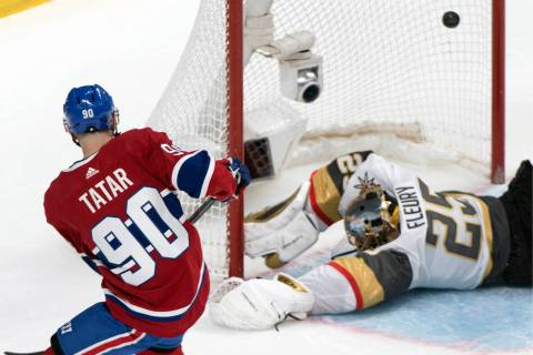 Montreal Canadiens' Tomas Tatar (90) scores against Vegas Golden Knights goaltender Marc-Andre ...