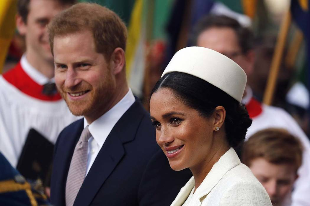 In this Monday, March 11, 2019 file photo, Britain's Prince Harry and Meghan, the Duchess of Su ...