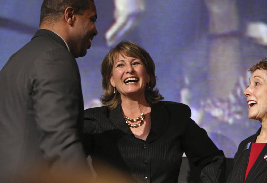 From left, state Sen. Steven Horsford, D-Las Vegas, state Sen.-elect Allison Copening and state ...