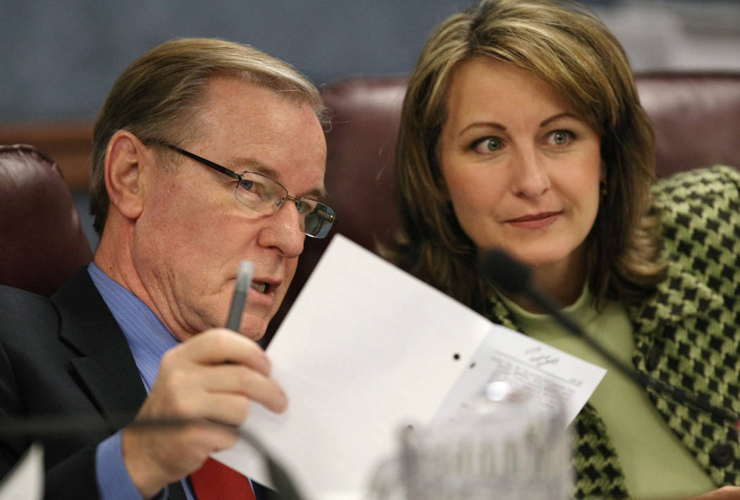 Nevada Sens. David Parks, and Allison Copening, both D-Las Vegas, talk in a Senate Judiciary he ...