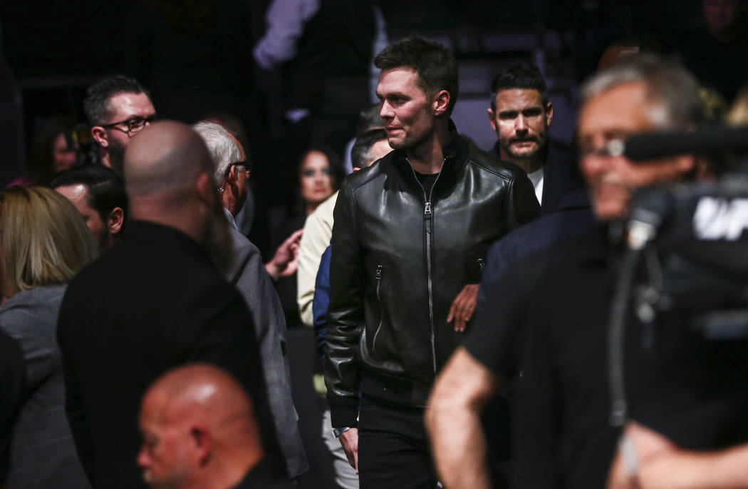 Tom Brady arrives to watch UFC 246 at T-Mobile Arena in Las Vegas on Saturday, Jan. 18, 2020. ( ...