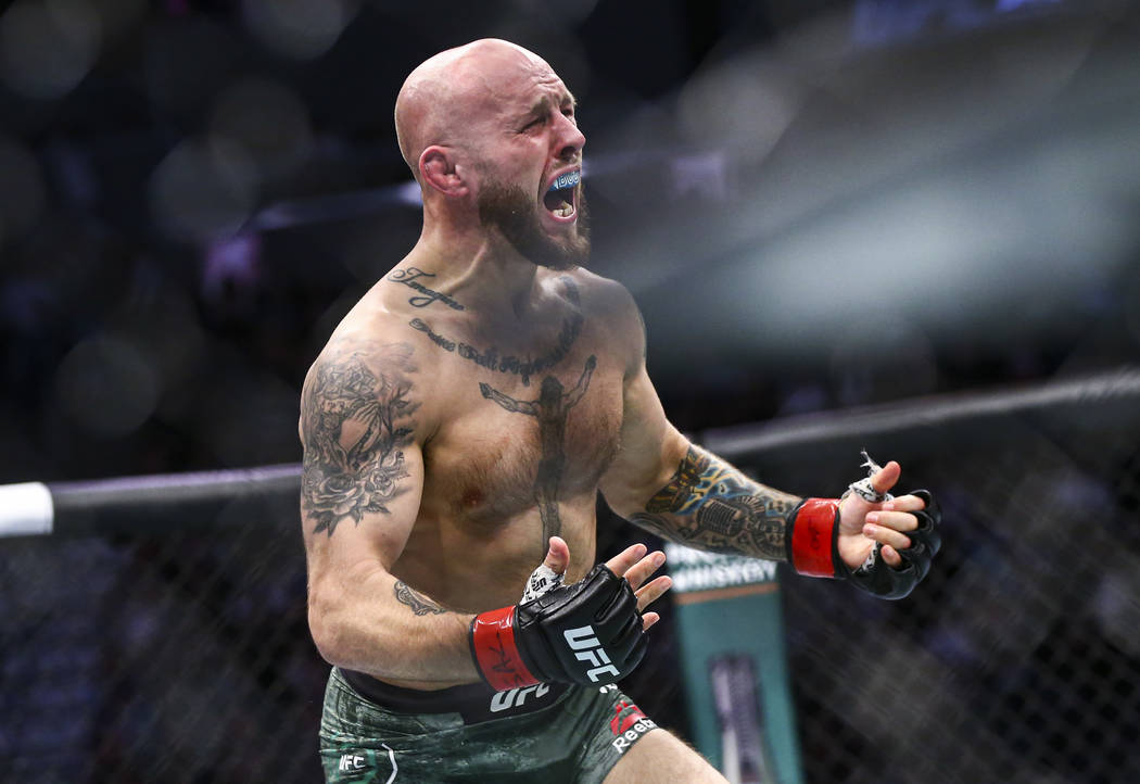 Brian Kelleher reacts after defeating Ode' Osbourne via rear-naked choke submission in their ba ...