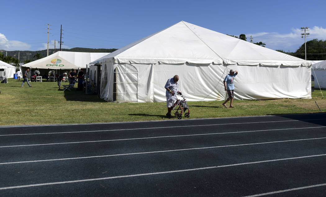 A tent city set up by the US army reserve stands in Guanica, Puerto Rico, Wednesday, Jan. 15, 2 ...