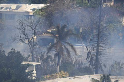 Several homes burn in near Diamond Head, Sunday, Jan. 19, 2020, in Honolulu, following a shooti ...
