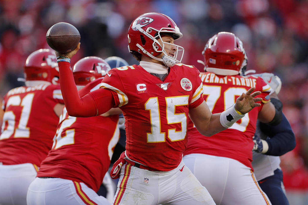 Kansas City Chiefs' Patrick Mahomes throws during the second half of the NFL AFC Championship f ...