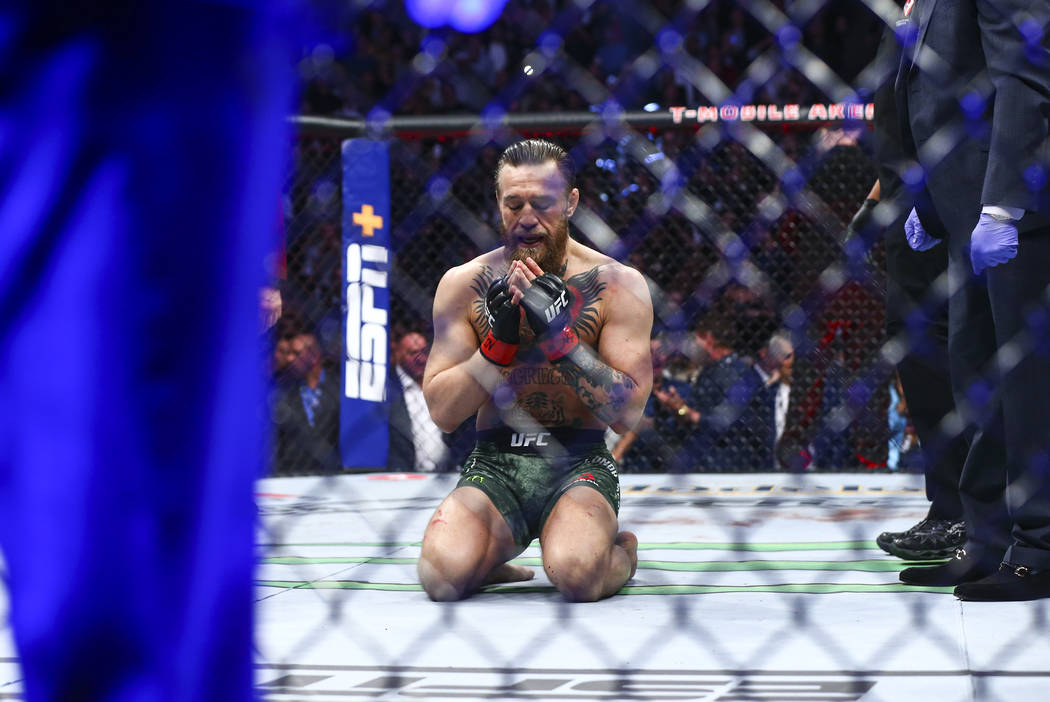 "Conor McGregor reacts after defeating Donald ""Cowboy"" Cerrone via technical knockout ..."
