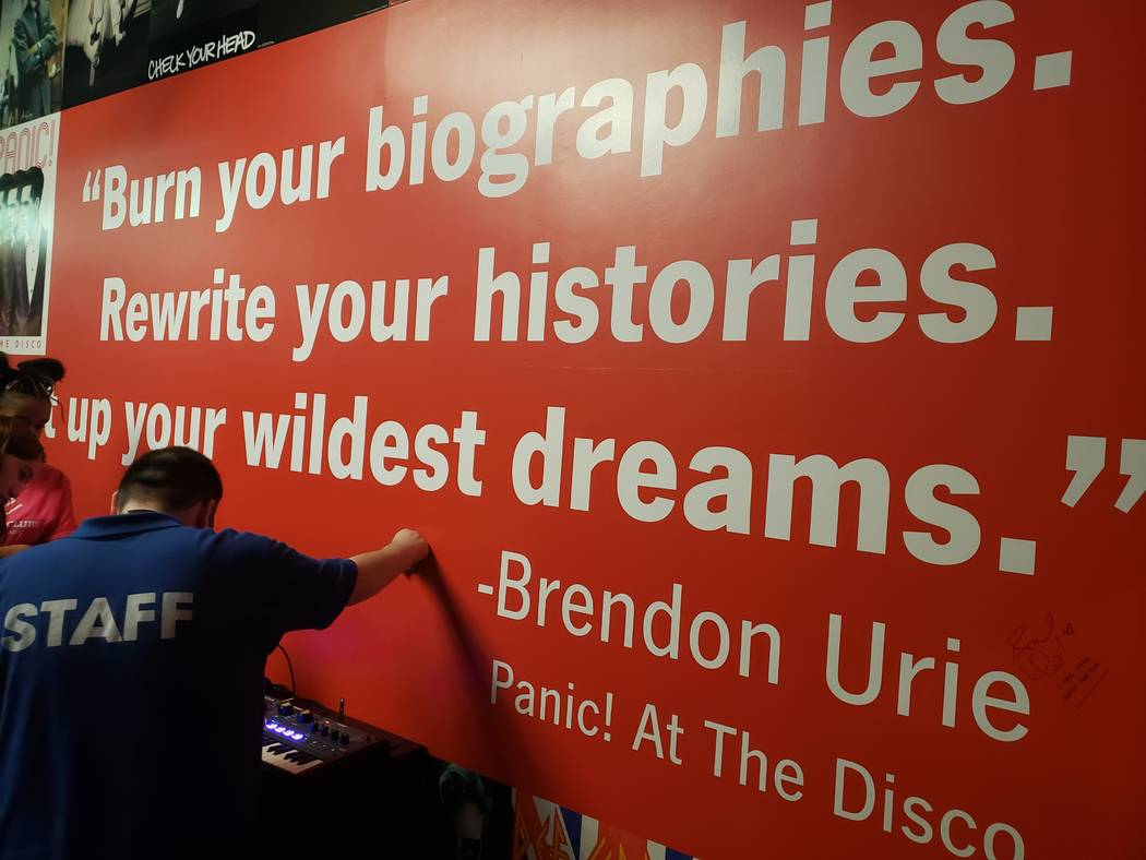 A wall featuring from a quote from Brendon Urie in new Notes for Notes studio in Henderson (Jas ...