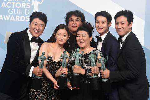 Kang-Ho Song, from left, Park So-dam, Bong Joon-ho, Jang Hye-jin, Choi Woo-shik, and Lee Sun Gy ...
