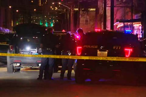 San Antonio police officers work the scene of a deadly shooting at the Ventura, a music venue i ...