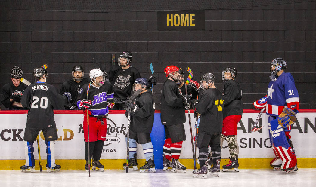 The Blackjacks take the ice before the start of their semi-finals game against the Flamingos du ...