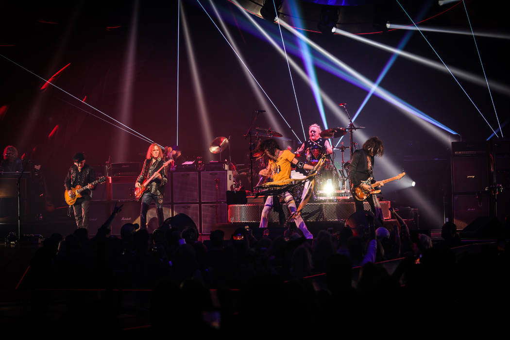 """Aerosmith performs in its """"Deuces Are Wild"""" residency at Park Theater on the Las Vegas Strip. ( ..."""
