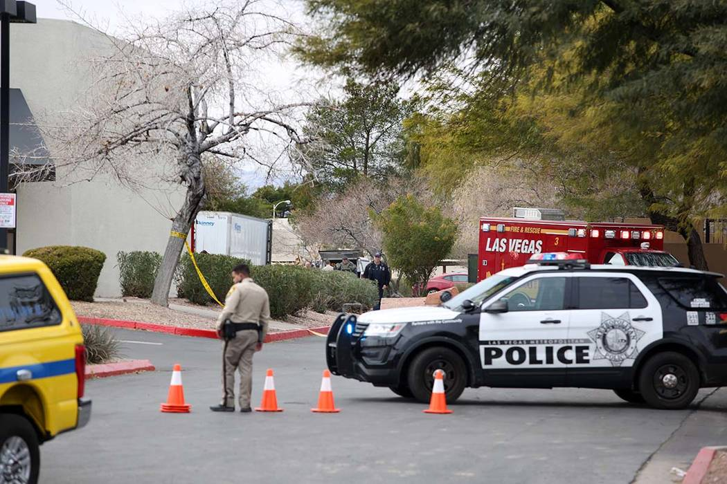 Police close off the the Renaissance Center East shopping complex in Las Vegas on Monday, Jan. ...