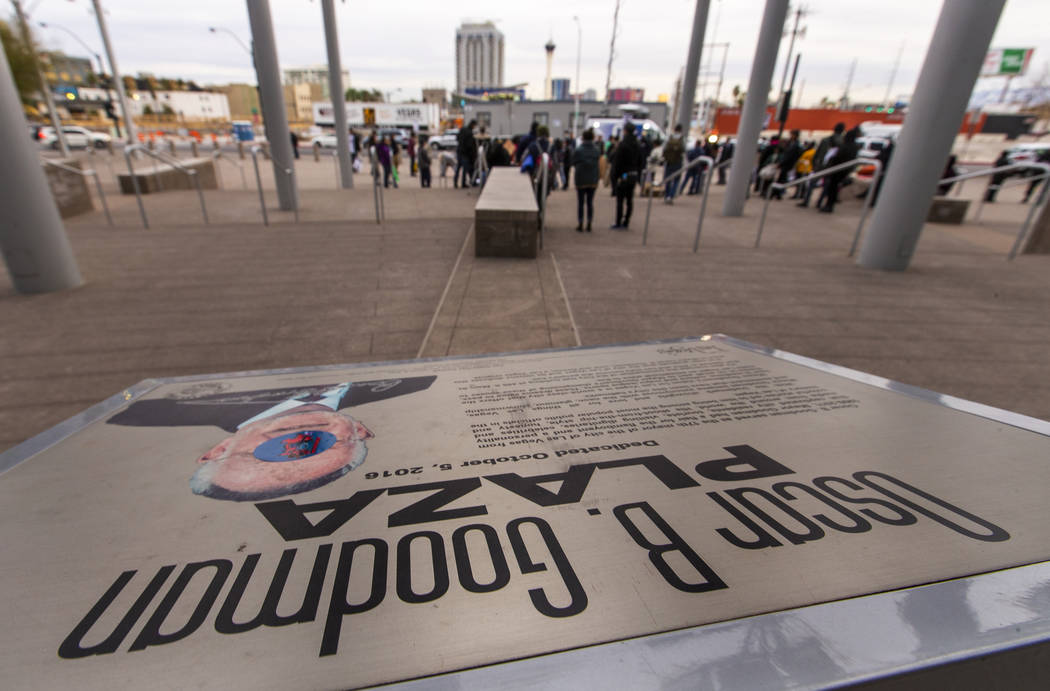 Local activists rally at the Las Vegas City Hall then march to the Fremont Experience in protes ...