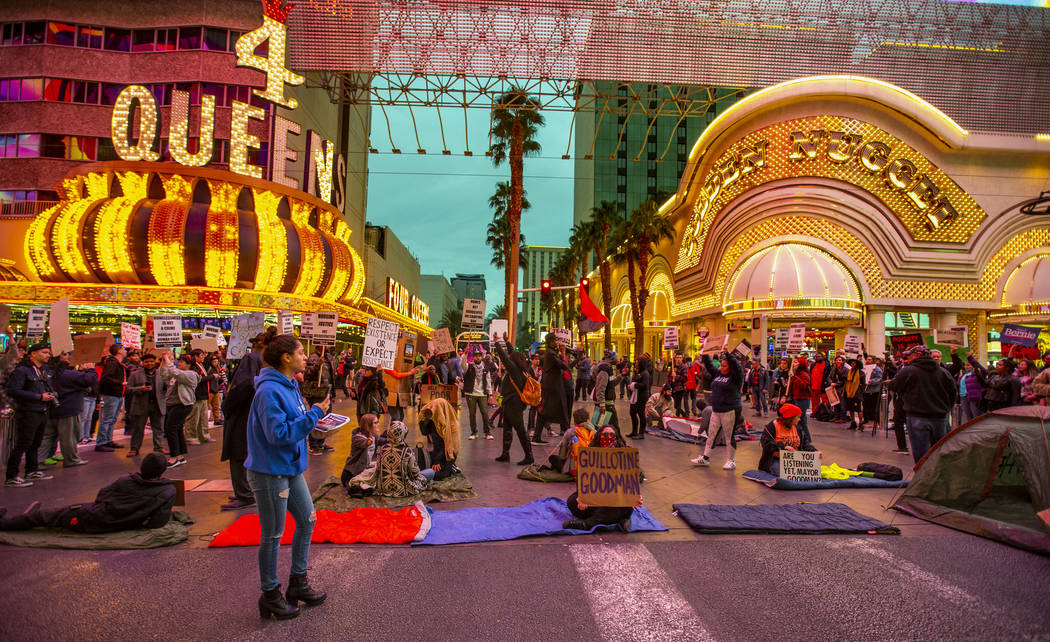 Local activists block Casino Center Blvd. through the Fremont Experience following a rally at t ...