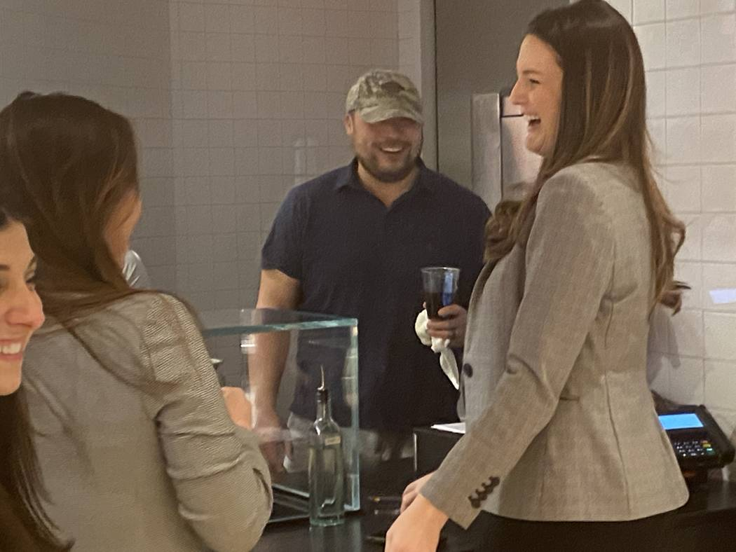 David Chang chats with some of the first customers at his new slider spot, Moon Palace. (Al Man ...