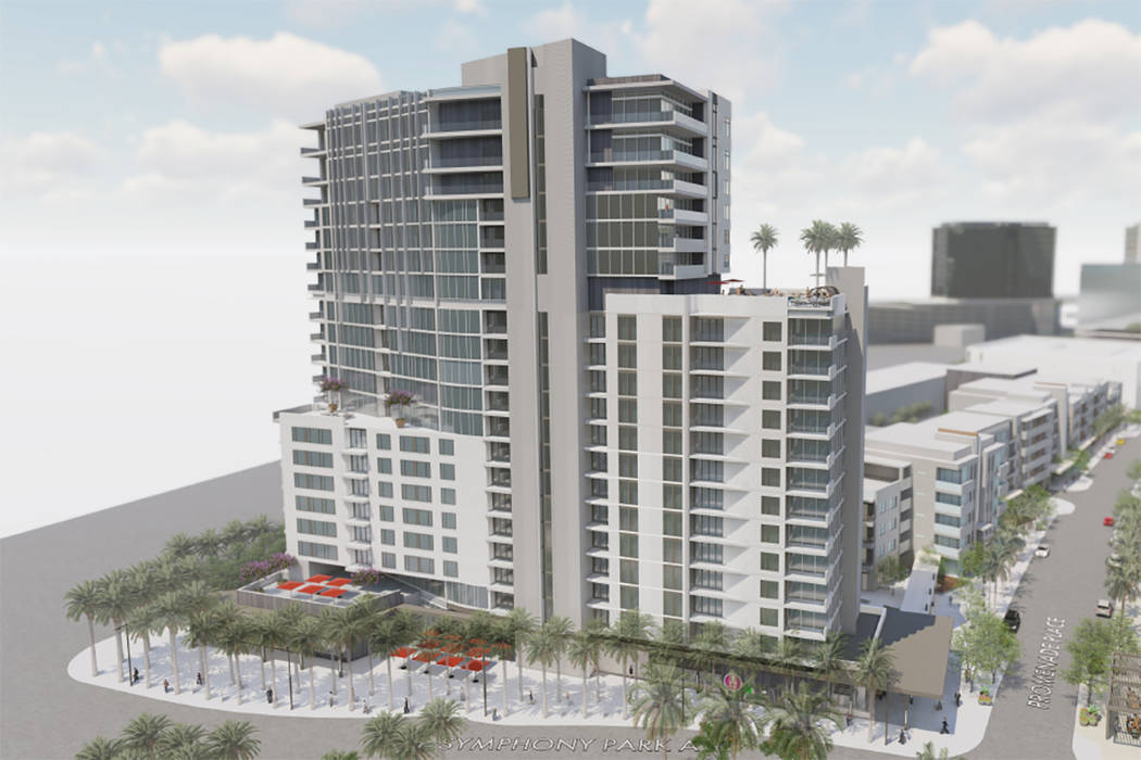 Rendering of residential buildings planned for Symphony Park in downtown Las Vegas. (Southern L ...