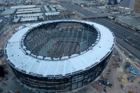Allegiant Stadium under construction Friday, Dec. 27, 2019. (K.M. Cannon/Las Vegas Review-Journ ...
