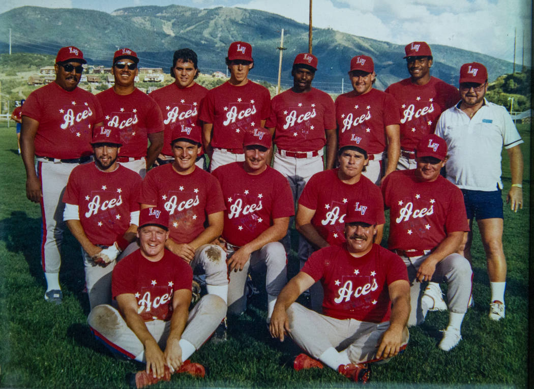 A team photo from 1989 is on display during the Las Vegas Aces slow-pitch softball team 30th re ...