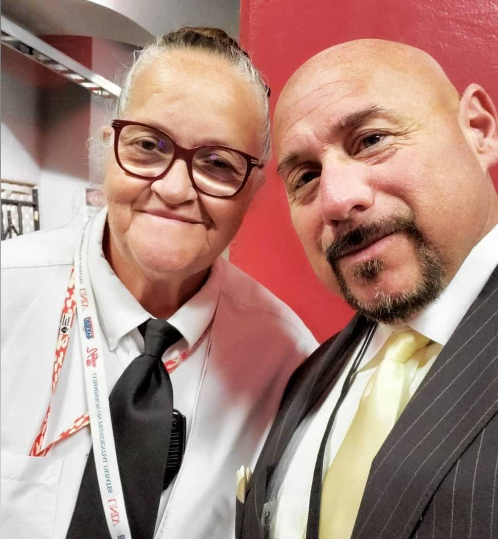 Mary Wilmore, left, shown with Las Vegas sports writer Willie Ramirez, was popular with local m ...