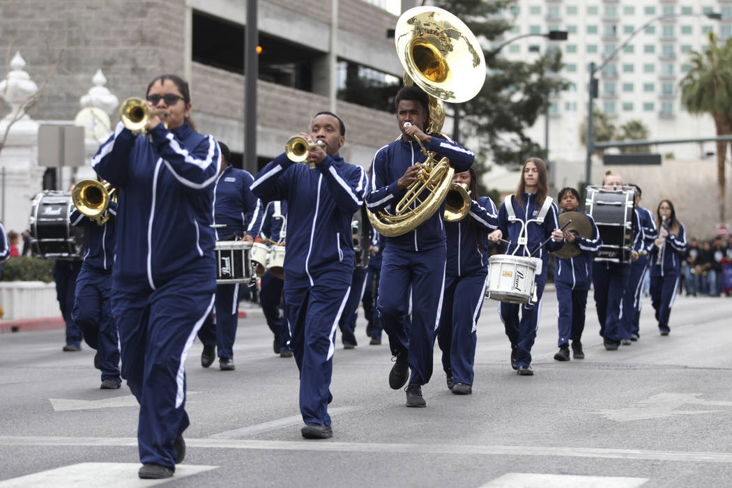 Cheyenne High School marching band members perform during the 38th annual Dr. Martin Luther Kin ...