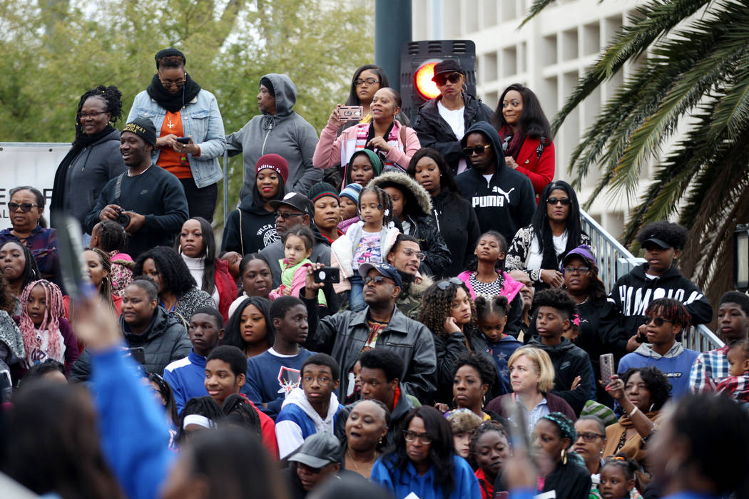 People attend the 38th annual Dr. Martin Luther King Jr. Parade in downtown Las Vegas, Monday, ...