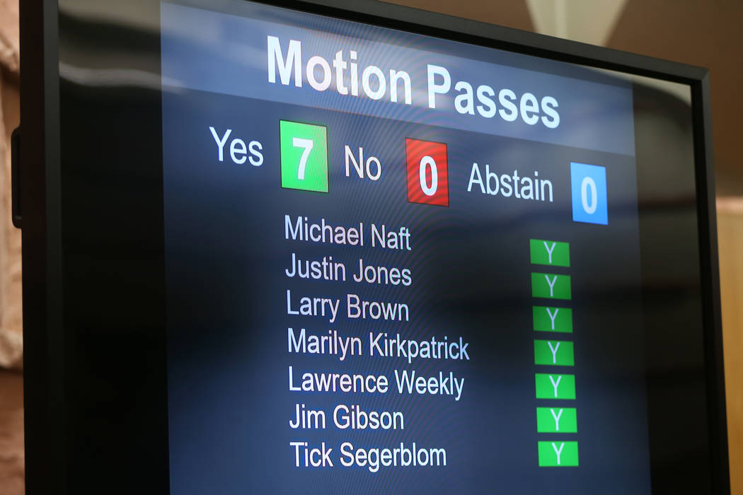 Clark County Commissioners approve a motion that included NFL Draft road closures during a boar ...