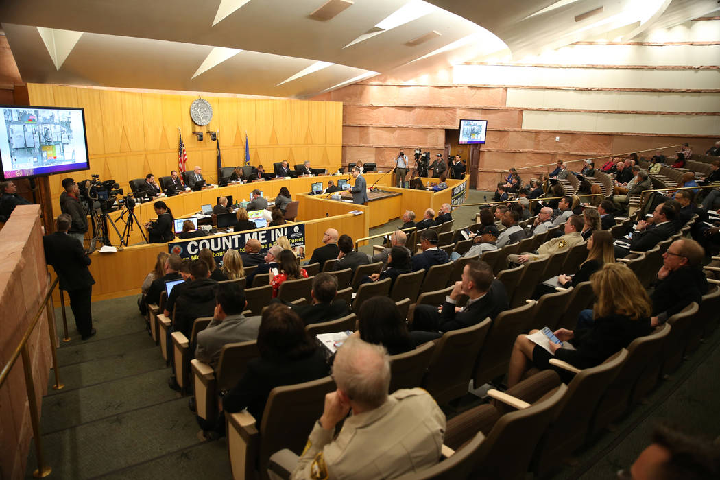 The NFL Draft road closures are discussed during a Clark County Commission meeting in Las Vegas ...