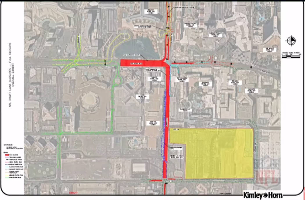 Rod closures planned for the 2020 NFL Draft in Las Vegas. (NFL)