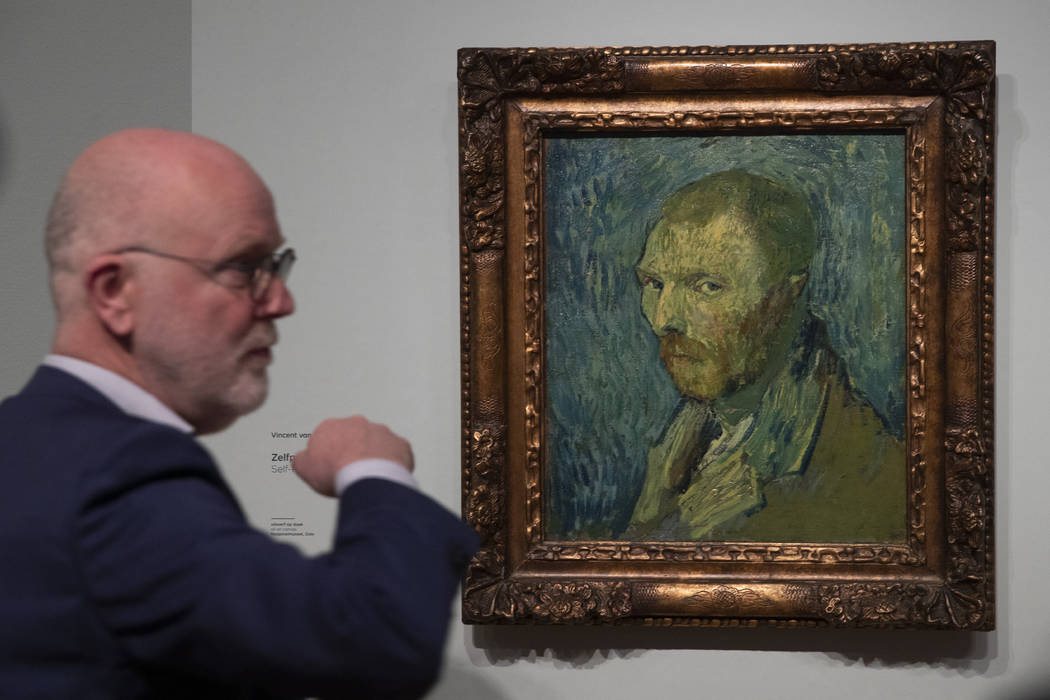 Senior researcher Louis van Tilborgh talks to journalists about the previously contested painti ...