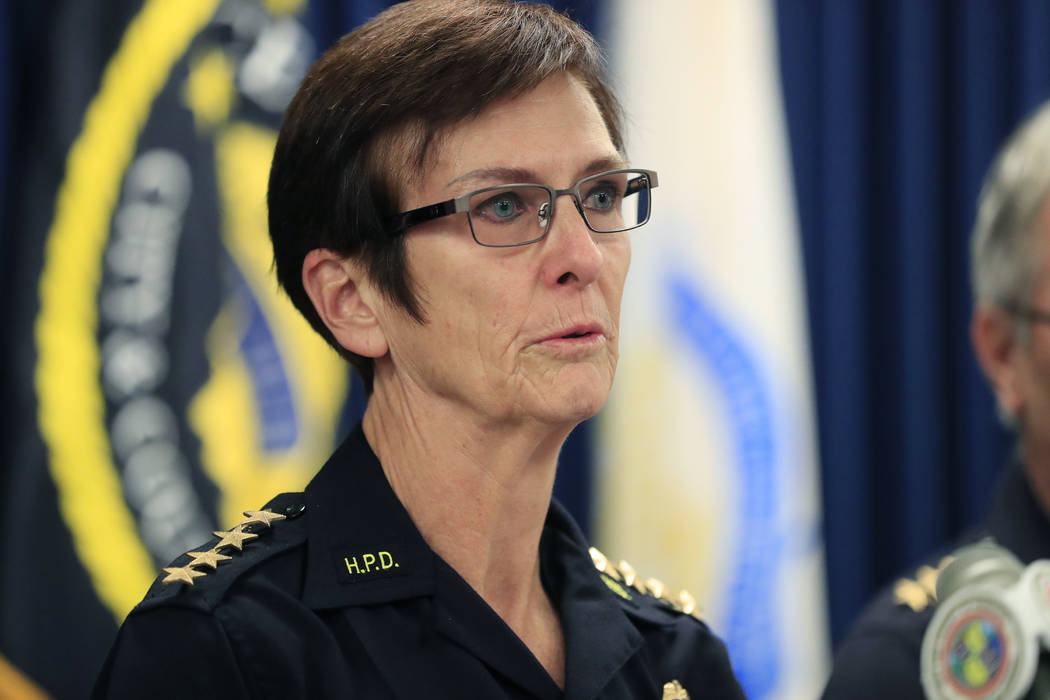 Honolulu Police Chief Susan Ballard speaks at a news conference after announcing the death of t ...