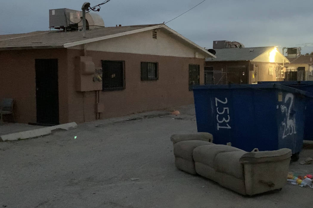 The dumpster where a dead baby was found on Sunday morning at the 2500 block of Carroll Street, ...