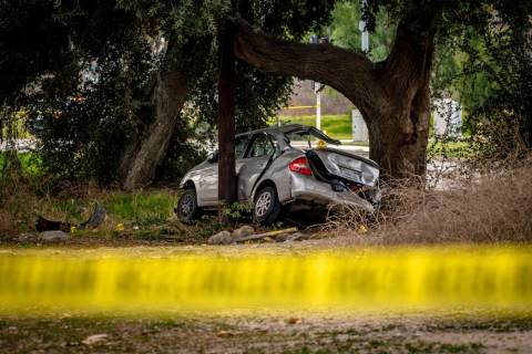 This photo shows a Toyota Prius at the scene of a deadly crash in the Temescal Valley, south of ...