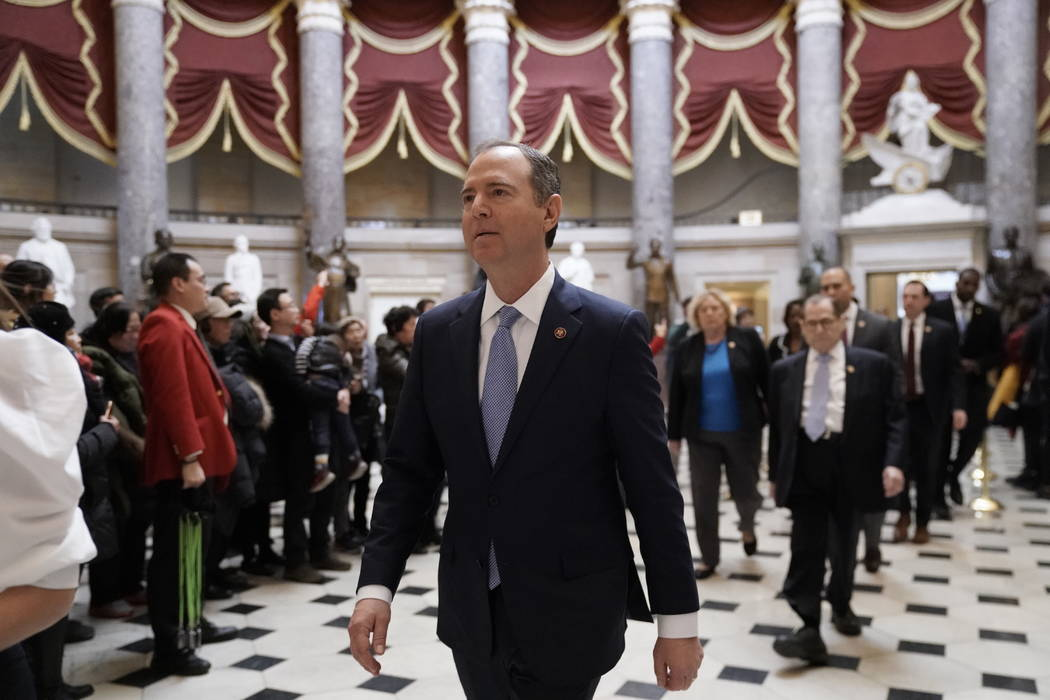Impeachment managers, House Intelligence Committee Chairman Adam Schiff, D-Calif., front center ...