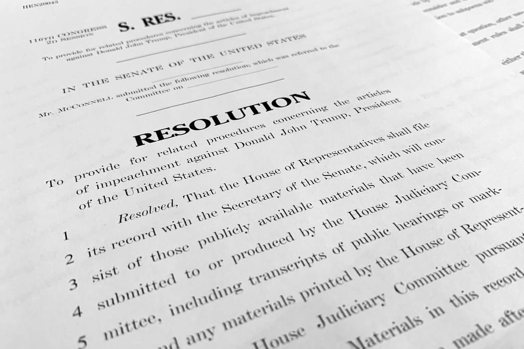 A copy of a Senate draft resolution to be offered by Senate Majority Leader Mitch McConnell, R- ...