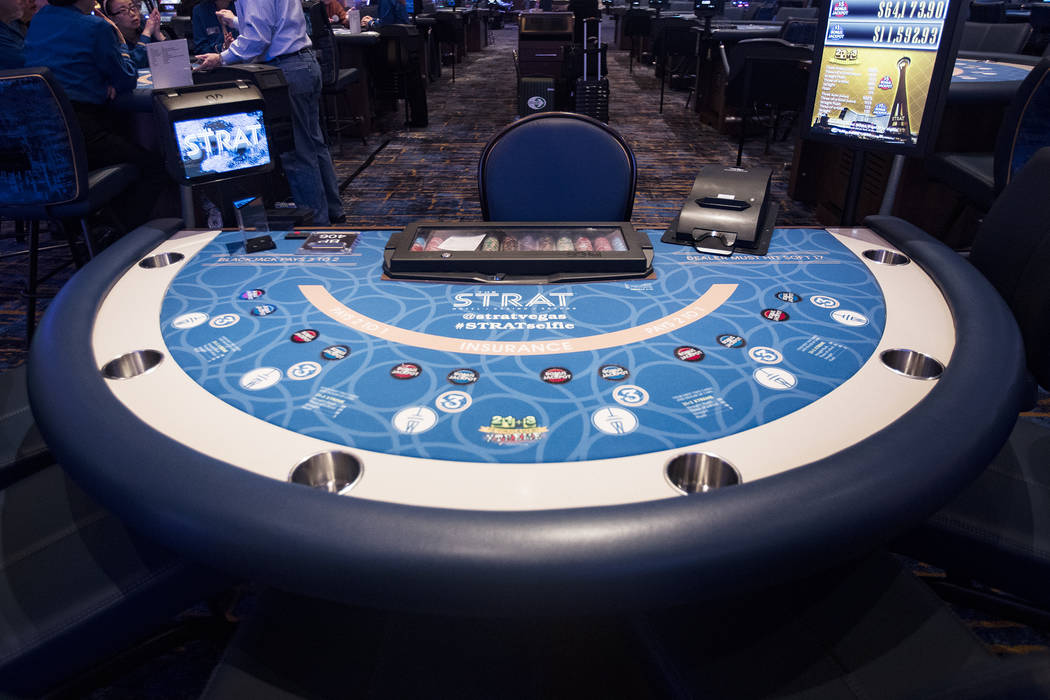 New felt for the gaming tables at the Strat in Las Vegas, Monday, Jan. 20, 2020. The Strat rece ...