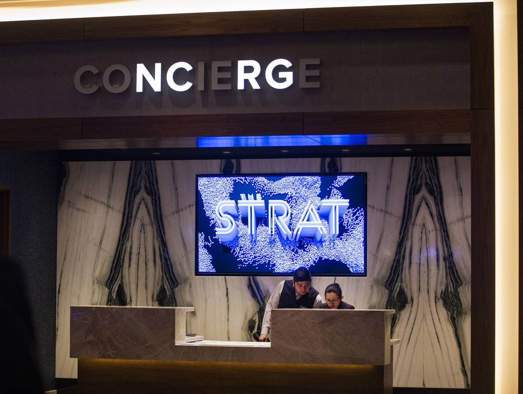 The concierge at the Strat in Las Vegas, Monday, Jan. 20, 2020. The Strat recently rebranded it ...